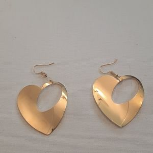 2/$15 gold plated heart shaped earrings new